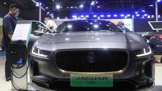 A Jaguar I-PACE electric car