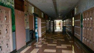 Empty Hollywood High hallway