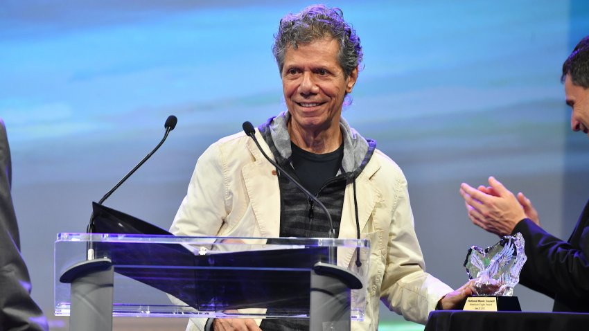 NASHVILLE, TN - JUNE 28: Recording Artists Chick Corea speaks on stage during the National Music Council American Eagle Awards Dinner honoring Chick Corea and The Manhattan Transfer at Music City Center on June 28, 2018 in Nashville, Tennessee.