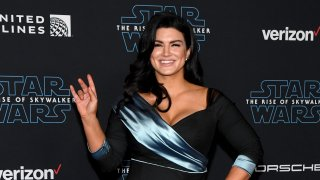 "In this Dec. 16, 2019, file photo, actress Gina Carano attends the premiere of Disney's ""Star Wars: The Rise of Skywalker"" in Hollywood, California."