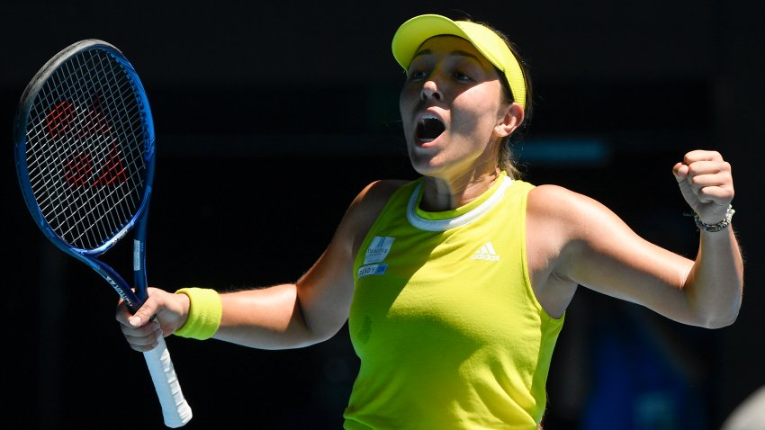 United States' Jessica Pegula celebrates after defeating Ukraine's Elina Svitolina in their fourth round match at the Australian Open tennis championship in Melbourne, Australia, Monday, Feb. 15, 2021.