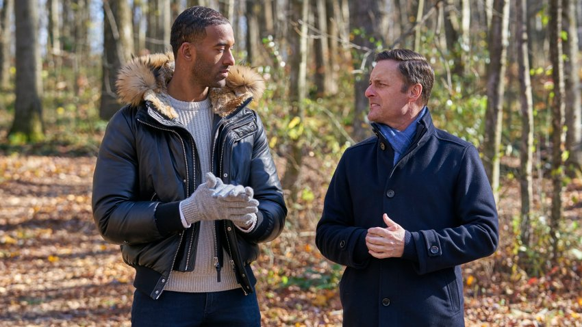 """""""The Bachelor"""" star Matt James and host Chris Harrison are photographed on the Feb. 15, 2021, episode of """"The Bachelor."""""""