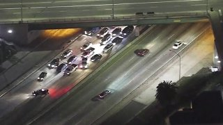 Traffic stops for a crash investigation on the 101 Freeway.
