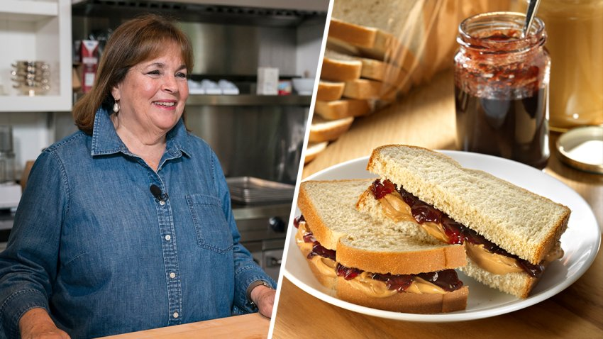 (Left) Ina Garten, (Right) File image of a peanut butter and jelly sandwich.