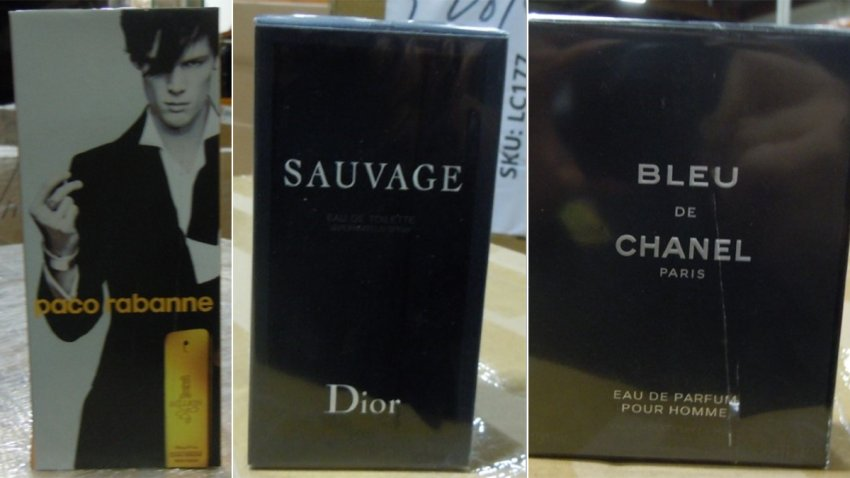 Counterfeit perfume bottles and cartons seized by U.S. Customs and Border Protection in Los Angeles.