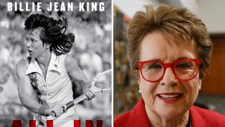 """This combination photo shows the cover of """"All In: An Autobiography"""" by Billie Jean King, left, and King posing for a portrait"""