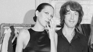 Elsa Peretti, left, poses with designer Halston