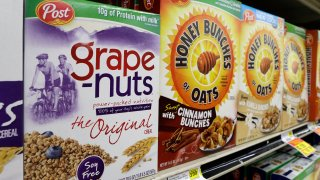 Post cereals are displayed