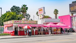 General views of Pink's Hot Dogs.