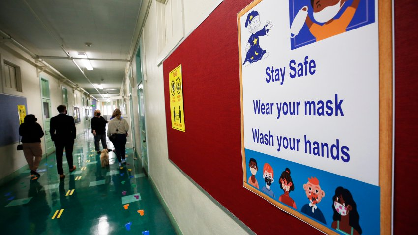 The principal at West Hollywood Elementary School leads a tour.