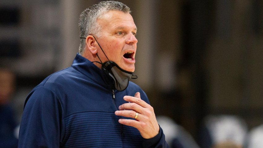 Creighton coach Greg McDermott shouts during the first half of the team's NCAA college basketball game against Villanova, Wednesday, March 3, 2021, in Villanova, Pennsylvania.