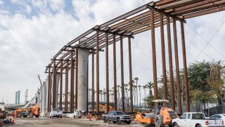 Guideway columns are in place near Century and Sepulveda boulevards as part of the Automated People Mover Project.
