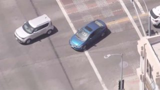 Police pursue a driver in Hollywood.