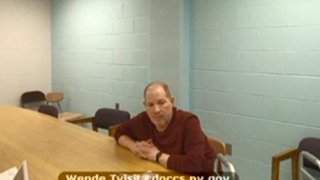 In this image taken from video, Harvey Weinstein appears from prison during his virtual extradition hearing