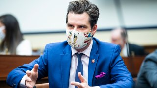 In this Feb. 3, 2021, file photo, Rep. Matt Gaetz, R-Fla., is seen during the House Armed Services Committee meeting to organize for the 117th Congress in Rayburn Building.