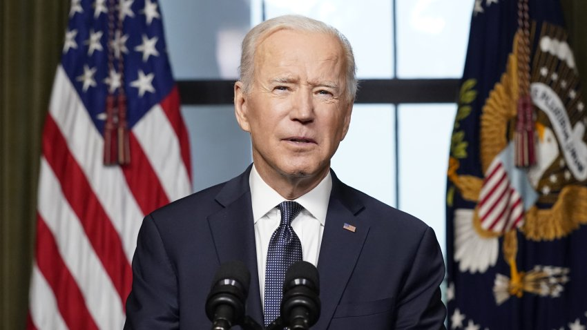 U.S. President Joe Biden speaks from the Treaty Room in the White House about the withdrawal of U.S. troops from Afghanistan on April 14, 2021, in Washington, DC.
