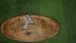 Dylan Bundy pitches for the Angels.