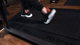 A detail shot shows the running deck of a Peloton Tread treadmill during CES 2018 at the Las Vegas Convention Center