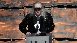 In this June 14, 2012, file photo, inductee Jim Steinman speaks at the 2012 Songwriters Hall of Fame induction and awards gala at the Marriott Marquis Hotel in New York.