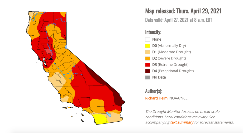The US Drought Monitor map for late April 2021.
