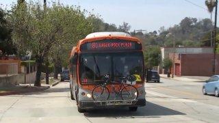 A Metro bus in Eagle Rock.
