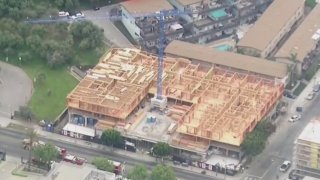 A man climbed this construction crane early Friday April 23, 2021 in East Hollywood.