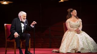Actor Dick Van Dyke, and choreographer, and actress Debbie Allen laugh during a press event at the 43nd Annual Kennedy Center Honors at The Kennedy Center on Friday, May 21, 2021, in Washington.