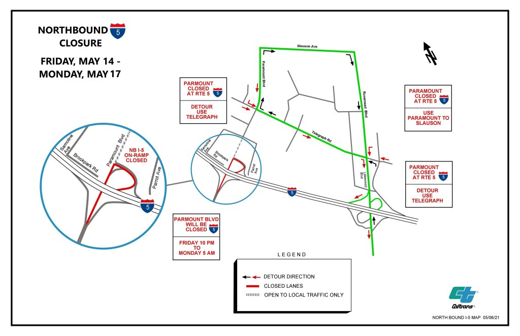 A map depicting the detour directions during the May 14 to May 17 closure of northbound Freeway 5. The map is depicted with simple, solid lines, drawing out Freeway 5 and the roads on the detour. Boxes around the map state the length of the closure and the locations of the detours. Drivers will be detoured from Paramount Boulevard and the closed northbound Freeway 5 on-ramp to Telegraph Road, Slauson Avenue, and Rosemead/Lakewood Boulevard.