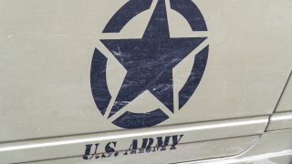 Rome, Italy - August 17, 2019: US Army symbol. The United States Army is the land warfare service branch of the United States Armed Forces