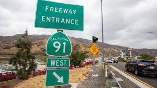 A 91 Freeway sign.