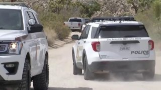 San Bernardino County Sheriff's Department SUVs in the Yucca Valley area.