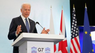 President Joe Biden speaks during a news conference after attending the G-7 summit