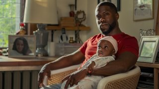 """This image released by Netflix shows Kevin Hart in a scene from """"Fatherhood."""""""