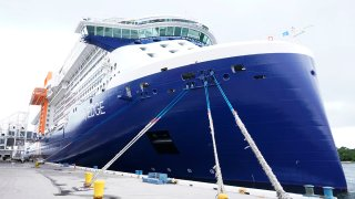 The Celebrity Edge is moored at Port Everglades, June 26, 2021, in Fort Lauderdale, Fla.