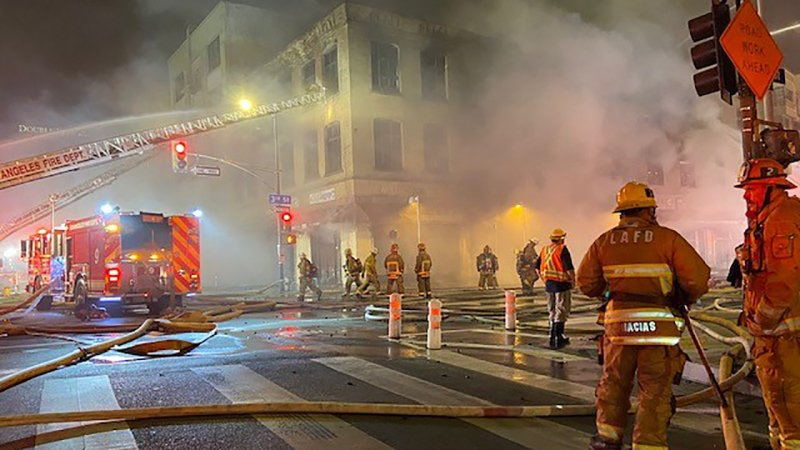 Photos: Firefighters Battle Explosive Building Fire in Downtown LA