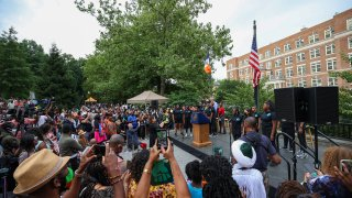 A new Federal Holiday ''Juneteenth'' is celebrated in the heart of Harlem, New York City, United States on June 18, 2021.