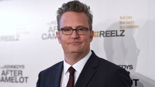 """In this March 15, 2017, file photo, Matthew Perry arrives at a special screening of """"The Kennedys - After Camelot"""" at The Paley Center for Media in Beverly Hills, California."""