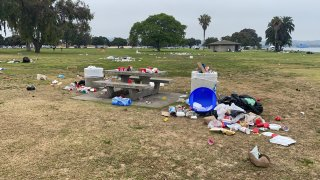 Trash left by visitors to the park