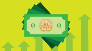 Photo illustration: Art of a house inside of a stack of dollar bills and rising arrows on the backdrop.