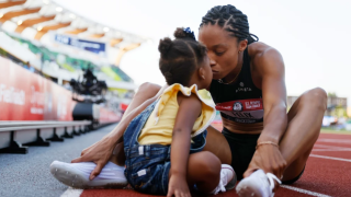 Allyson Felix celebrates with her daughter Camryn after finishing second in the Women's 400 Meters Final on day three of the 2020 U.S. Olympic Track & Field Team Trials at Hayward Field on June 20, 2021 in Eugene, Oregon.