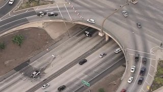 A driver was killed in a crash off a freeway overpass in Fontana.