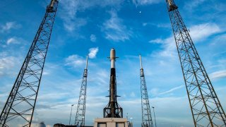 A SpaceX Falcon 9 rocket at Cape Canaveral.