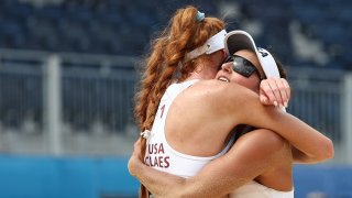 Kelly Claes and Sarah Sponcil at the 2020 Tokyo Olympics