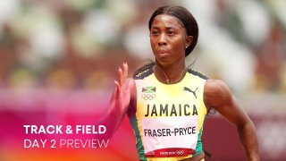 Shelly-Ann Fraser-Pryce of Team Jamaica competes during round one of the Women's 100m heats