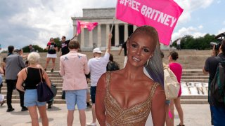 """FILE - Fans and supporters of pop star Britney Spears protest at the Lincoln Memorial, during the """"Free Britney"""" rally, July 14, 2021, in Washington."""