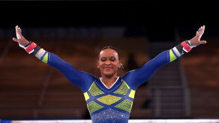 Rebeca Andrade competes on bars