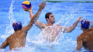 Ben Hallock is pictured competing in water polo.