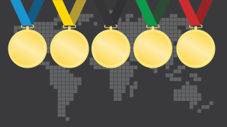 Photo illustration of gold medals over an 8-bit world map