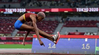Venezuela's Yulimar Rojas competes in the women's triple jump qualification during the Tokyo 2020 Olympic Games