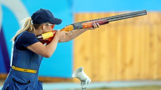 Amber Hill competes in skeet shooting